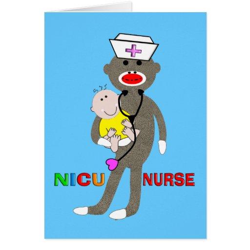 NICU Nurse Sock Monkey Gifts Card