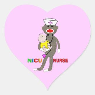NICU Nurse Sock Monkey Gifts Heart Sticker