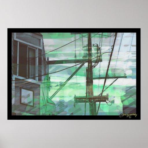 Niebla binaria verde póster