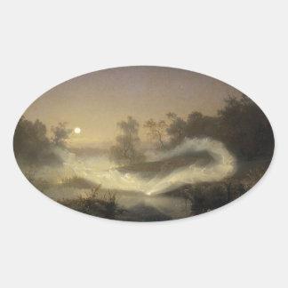 Niebla de hadas en claro de luna calcomanía óval