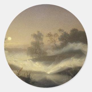 Niebla de hadas en claro de luna pegatina redonda