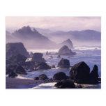 Niebla de la mañana a lo largo de la costa de tarjetas postales