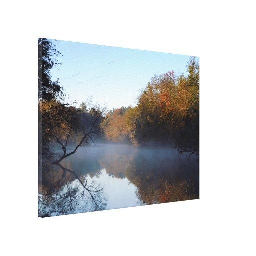 Niebla de la mañana - cala de Contentnea, NC Impresion De Lienzo