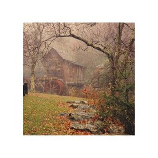 Niebla de la mañana cuadro de madera