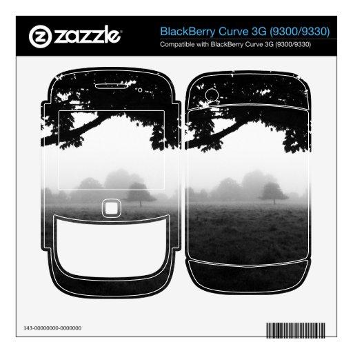 Niebla de la mañana que emerge de árboles calcomanía para BlackBerry