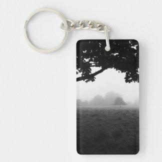 Niebla de la mañana que emerge de árboles llavero