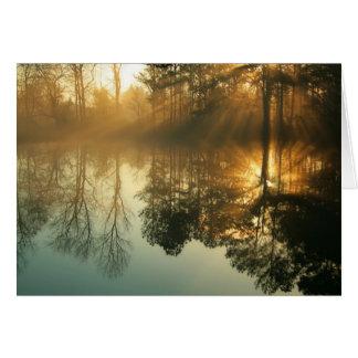Niebla de la mañana tarjeta de felicitación