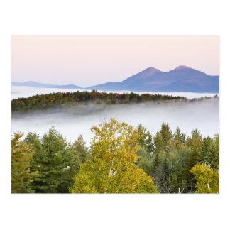 Niebla de la mañana y los picos de Percy según lo  Tarjetas Postales