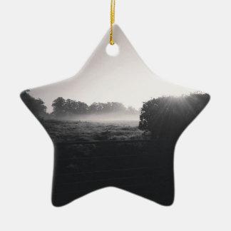 Niebla de la mañana y sol bajo en el campo cuando adorno navideño de cerámica en forma de estrella