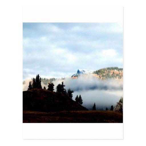 Niebla de la montaña cómo es alto tarjetas postales