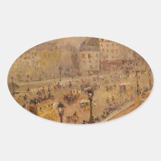 Niebla de Pont Neuf de Camille Pissarro Pegatina Ovalada