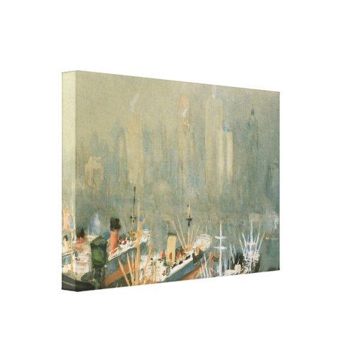 Niebla en la impresión de la lona del puerto de Br Impresiones De Lienzo