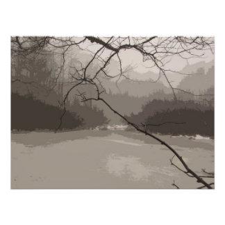 Niebla mística sobre la impresión de la foto del p fotografía