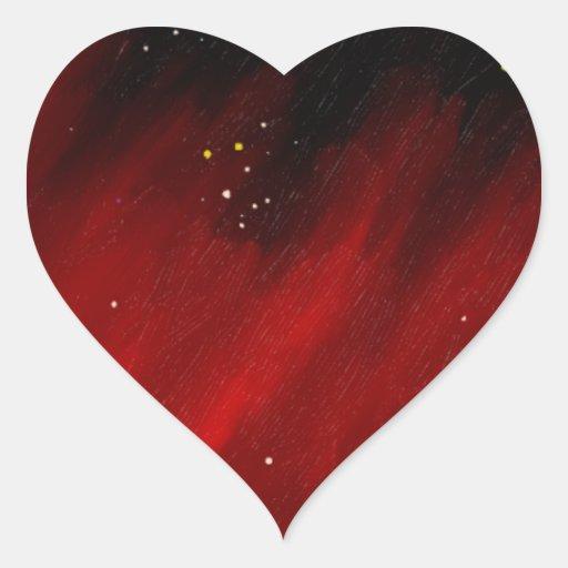 Niebla roja del espacio pegatina en forma de corazón