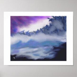 Niebla sobre arte de congelación del agua póster