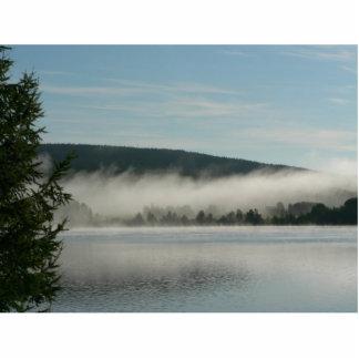 Niebla sobre el lago por mañana esculturas fotográficas