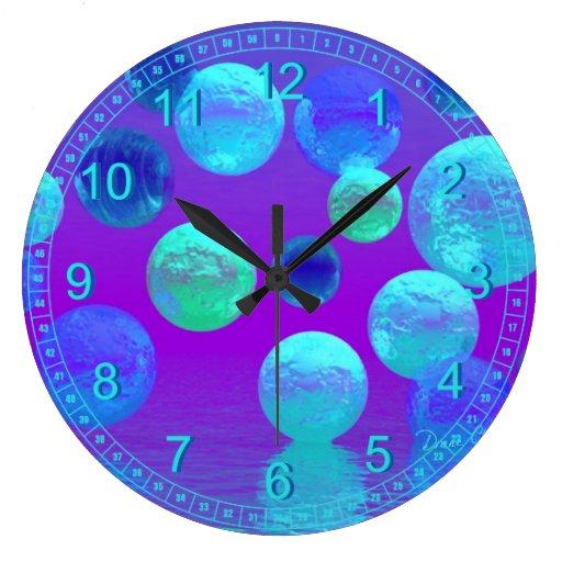 Niebla violeta - luz ciánica y púrpura abstracta reloj redondo grande