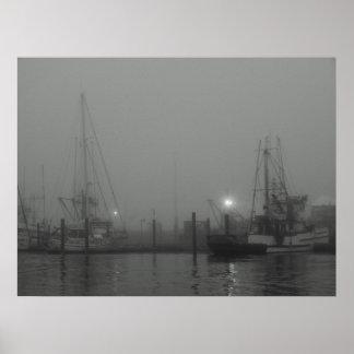 Niebla y barcos impresiones