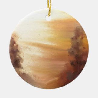 Nieblas de la mañana adorno redondo de cerámica
