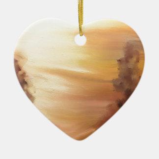 Nieblas de la mañana adorno de cerámica en forma de corazón