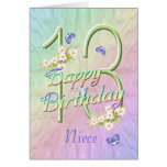 Niece 13th Birthday Butterflies and Flowers Card