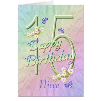 Niece 15th Birthday Butterflies and Flowers Card