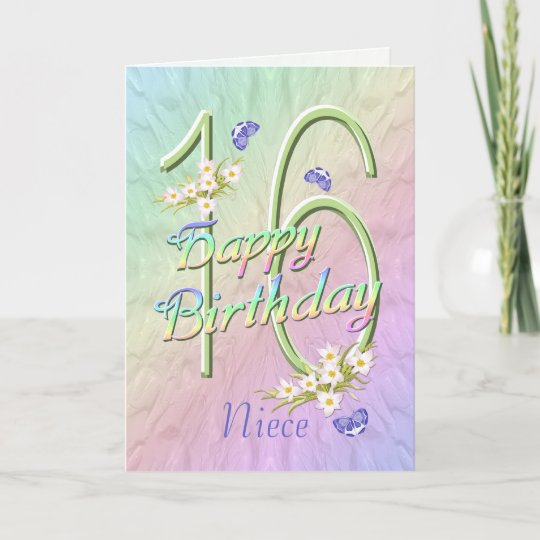 Niece 16th Birthday Butterflies And Flowers Card Zazzle