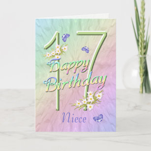 niece 17th birthday butterflies and flowers card