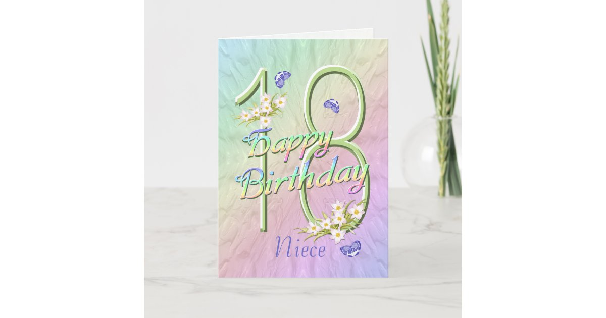 Awe Inspiring Niece 18Th Birthday Butterflies And Flowers Card Zazzle Com Funny Birthday Cards Online Fluifree Goldxyz