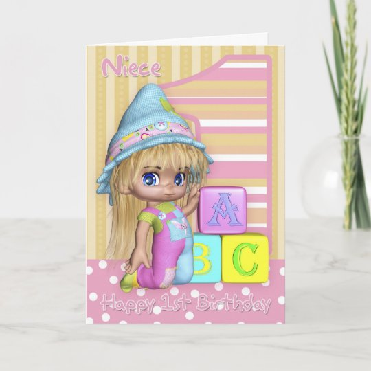 Niece 1st Birthday Card With Cute Little Girl
