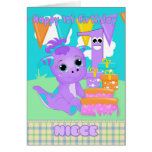 Niece 1st Birthday Cute Little Monster With Gifts Greeting Card