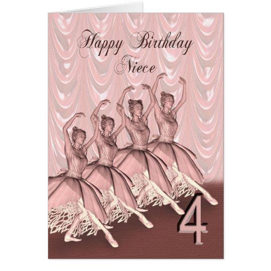 Niece age 4, a ballerina birthday card