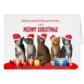 Niece and partner, Cats in Christmas hats Card