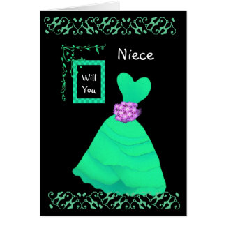 NIECE Be My Junior Bridesmaid with GREEN Gown Card