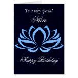 Niece - Birthday - Blue Lotus on Black Card