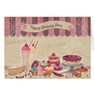 Niece - Birthday Card - Cakes And sweets