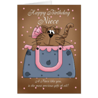 Niece Birthday Card - Cute Cat Purse Pet