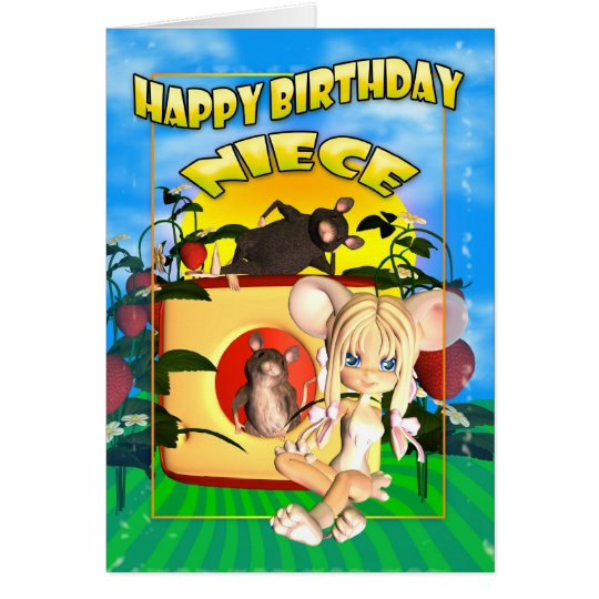 Niece Birthday card cutie pie mouse, with mice in