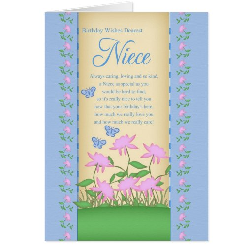 niece birthday card flowers and butterflies zazzle