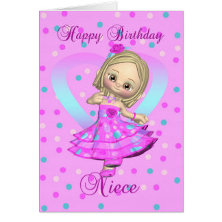 niece birthday card - pink and blue polka dot