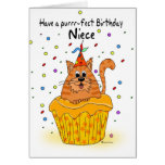 niece birthday card with ginger cupcake cat