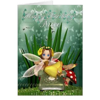 Niece Birthday card with moonies Fall fairy