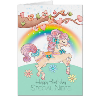 Niece Birthday With A Sweet Watercolor Pony Card