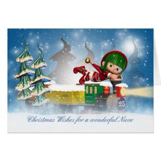Niece Christmas card with cute elf on the Christma