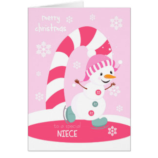 Niece Christmas Ice Skating Snowman Card