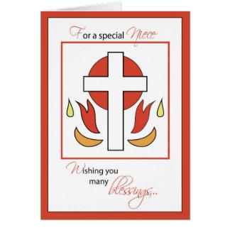 Niece Confirmation Congratulations Cross Fire, Red Card