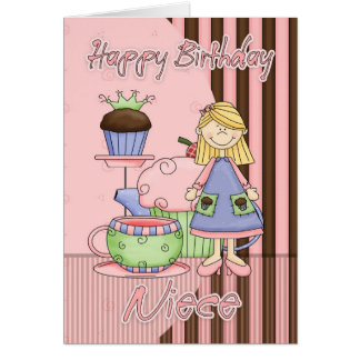 Niece Cute Birthday Card - Cupcakes And Tea