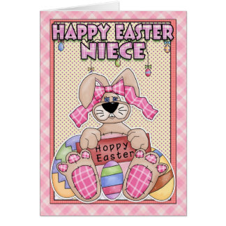 Niece Easter Card - Easter Bunny & Easter Eggs