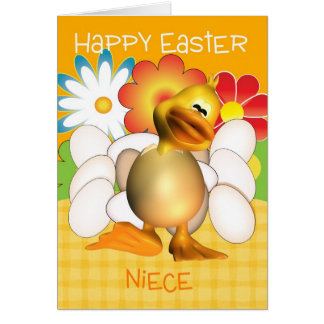 Niece Easter Card With Chick Eggs And Bright Flowe