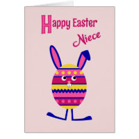 Niece Easter egg bunny pink Card